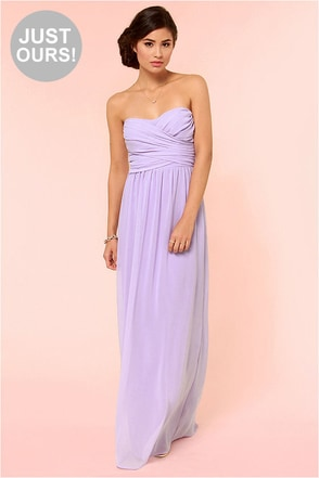 LULUS Exclusive Slow Dance Strapless Light Grey Maxi Dress