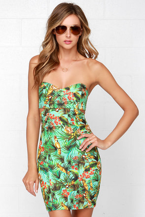 Grin and Parrot Strapless Mint Print Dress at Lulus.com!