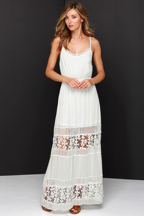 Vision to Behold Ivory Lace Maxi Dress at Lulus.com!