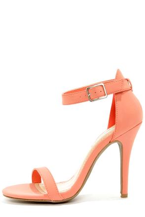 Anne Michelle Enzo 01 Melon Coral Single Strap Heels at Lulus.com!