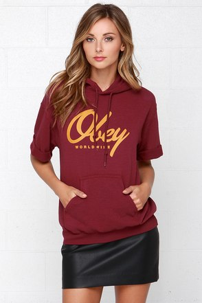 Obey Get Like Me Burgundy Hooded Sweatshirt at Lulus.com!