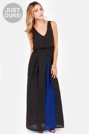 LULUS Exclusive Dual in Good Fun Blue and Black Maxi Dress
