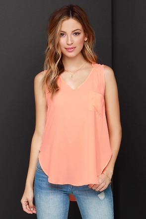 Hot, Hot, Heat Neon Coral Top at Lulus.com!