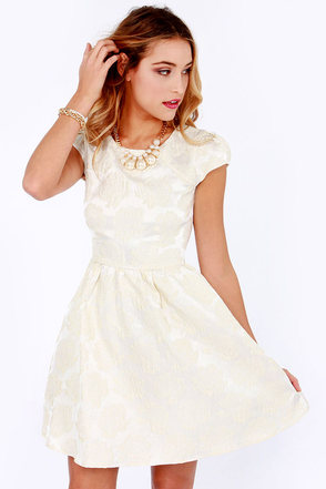 Rose Were the Days Cream Jacquard Dress