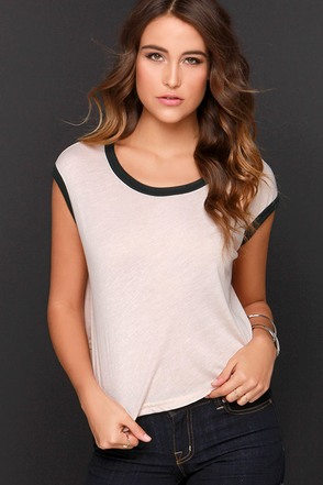 Obey Highway Ringer Blush Pink Crop Tee at Lulus.com!