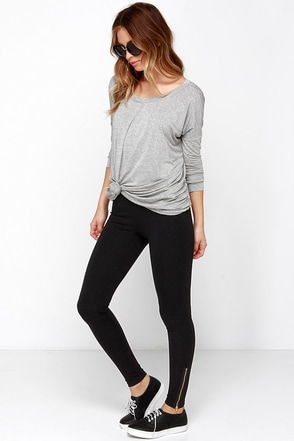 Let it Zip Black Leggings at Lulus.com!