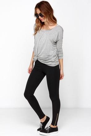 Let it Zip Black Leggings at Lulus.com!