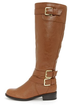 Soda Doric Cognac and Gold Knee-High Riding Boots