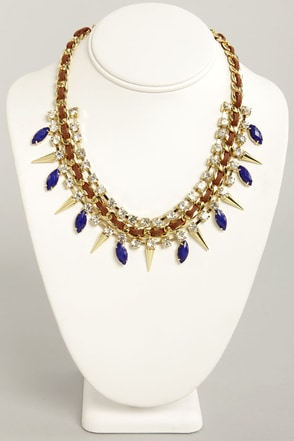 Sugar and Spikes Brown and Blue Necklace