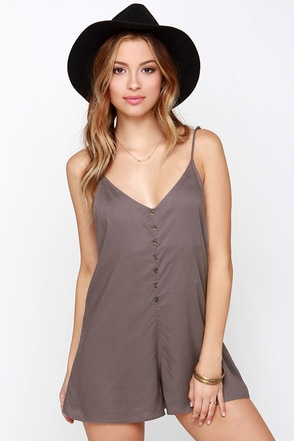 RVCA Escapade Brown Romper at Lulus.com!