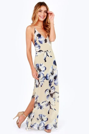 At Long Last Beige Floral Print Maxi Dress at Lulus.com!