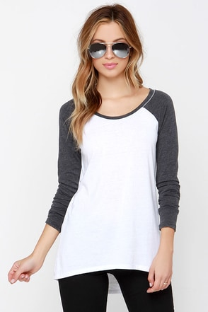 The Big Hit Charcoal Grey and Ivory Top at Lulus.com!