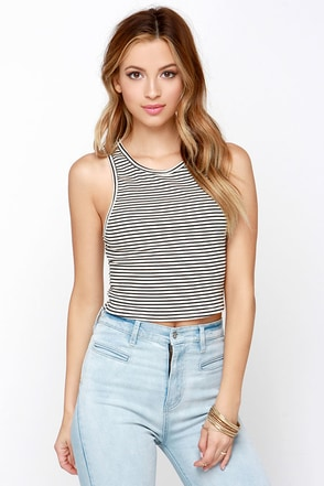 No End in Stripe Black and Cream Striped Crop Top at Lulus.com!