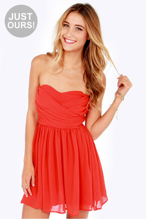 LULUS Exclusive Sash Flow Strapless Red Orange Dress
