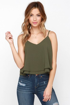 Glamorous Tiers to Us Olive Green Crop Top at Lulus.com!
