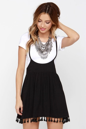Make it Big Black Suspender Skirt at Lulus.com!
