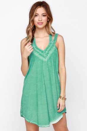 RVCA Tunnel Vision Washed Sea Green Dress at Lulus.com!