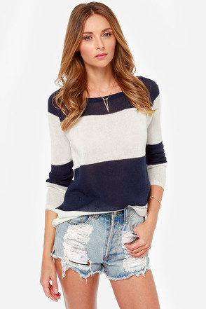 Skipper's Pick White and Navy Blue Striped Sweater