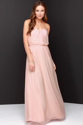 Follow Your Heart Peach Strapless Maxi Dress at Lulus.com!