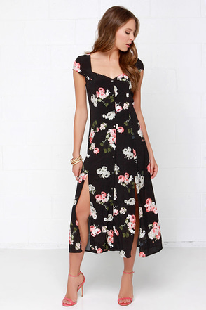 Mink Pink Moon Flower Black Floral Print Maxi Dress at Lulus.com!