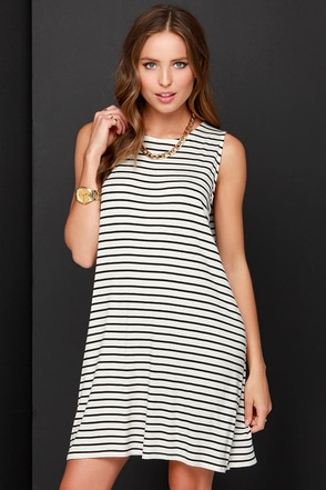 Dee Elle Up to Fold Tricks Black and Cream Striped Dress at Lulus.com!