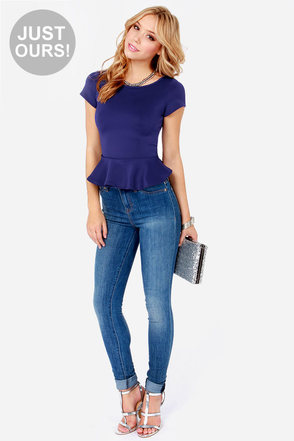 LULUS Exclusive Loud and Clear Blue Peplum Top
