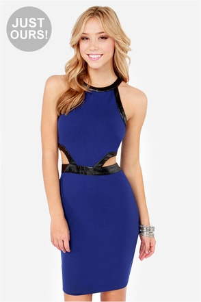 LULUS Exclusive A Fair Shake Cutout Blue Dress