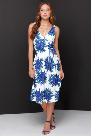 Somedays Lovin' Ryder Blue and Ivory Floral Print Dress at Lulus.com!