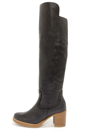 MTNG 90256 Brooke Rustico Black Leather Knee High Boots