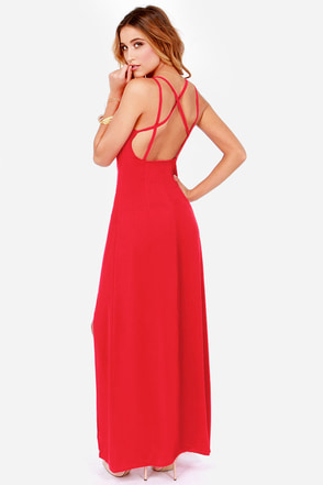 Hard to Get Backless Red Maxi Dress