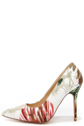 Main Abstraction Red Floral Print Pumps at Lulus.com!