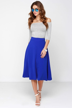 JOA Luxe Life Cobalt Blue Midi Skirt at Lulus.com!