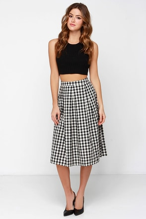 All Checks Out Cream and Black Plaid Skirt at Lulus.com!