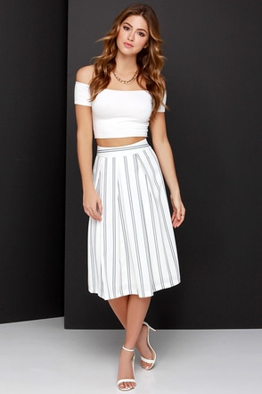 JOA Line Drive Black and Ivory Striped Midi Skirt at Lulus.com!