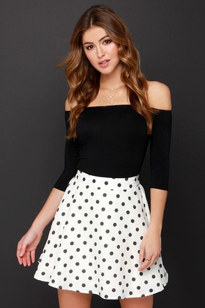 JOA Dots Enough Cream Polka Dot Skirt at Lulus.com!