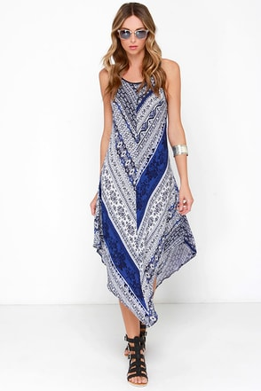 Bohemian Queen Blue Print Midi Dress at Lulus.com!