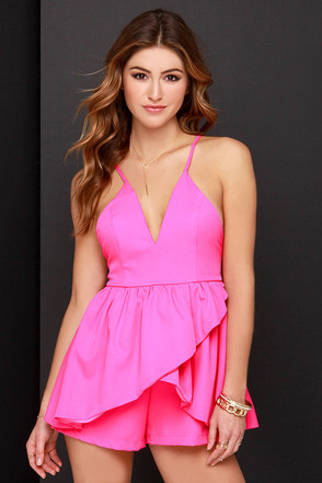 Skort and Sweet Fuchsia Pink Romper at Lulus.com!