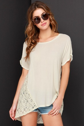 Black Swan Lola Cream Lace High-Low Top at Lulus.com!