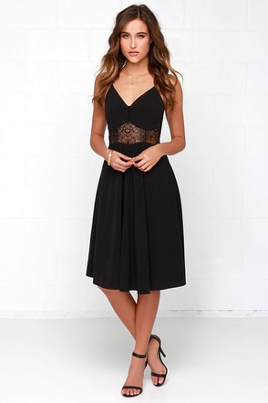 From Sheer to There Black Lace Midi Dress at Lulus.com!