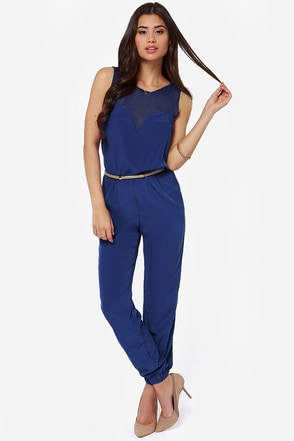 Goodnight Sweetheart Royal Blue Jumpsuit