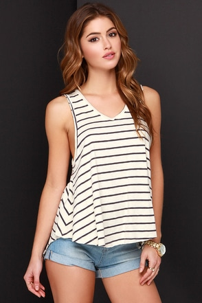 Fault Lines Grey and Cream Striped Tank Top at Lulus.com!