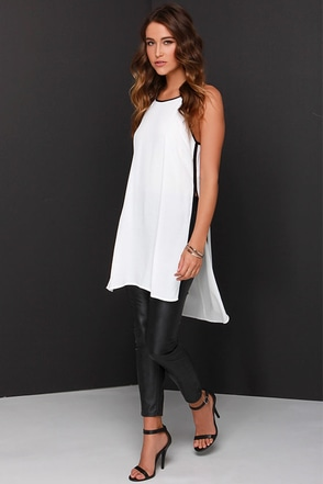 State Of Lux Black and Ivory Tunic at Lulus.com!
