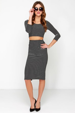 Across the Board Black Striped Pencil Skirt at Lulus.com!