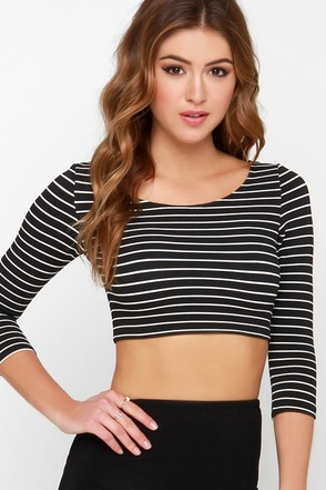 Crop It Up Ivory Striped Crop Top at Lulus.com!