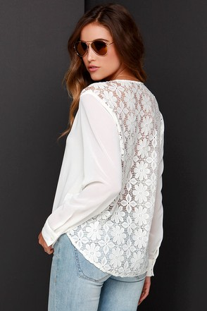 Sweet Surplice Cream Lace Long Sleeve Top at Lulus.com!