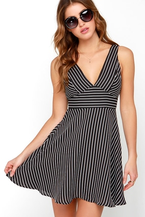 Do or Diagonal Ivory and Black Striped Dress at Lulus.com!