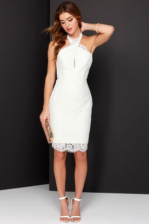 Keepsake High Roads Powder Blue Lace Halter Dress at Lulus.com!