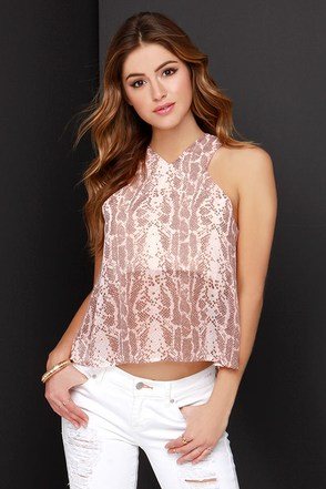 Come Slither Peach Snake Print Top at Lulus.com!