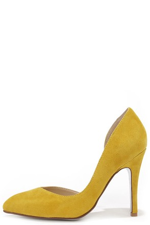 Chinese Laundry Copertina Yellow Kid Suede D'Orsay Heels at Lulus.com!