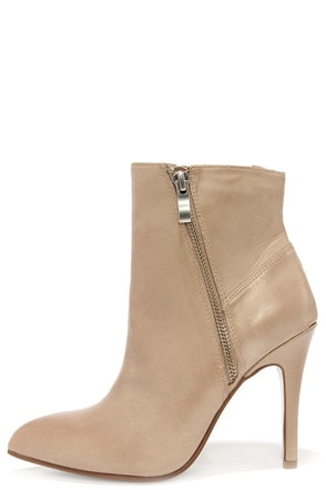 Chinese Laundry Caylin Taupe Leather High Heel Booties at Lulus.com!
